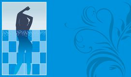 Female silhouette in pool. Blank for season ticket Royalty Free Stock Images