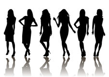 Female silhouette set. Illustration of fashion female silhouette set isolated Royalty Free Stock Photos
