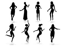 Female silhouette set Royalty Free Stock Photo