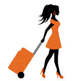 Female silhouette suitcase rolls Royalty Free Stock Images