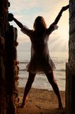 Female silhouette at sunset royalty free stock photography