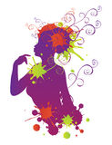 Female silhouette with swirls Royalty Free Stock Photo