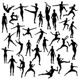 Female Silhouette Vector Model Women. A collection of 31 individual female vector silhouettes in a wide variety of poses - standing, stretching,fighting,running Royalty Free Stock Image