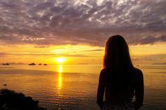 Female Silhouette Watching Sunset Sea View Royalty Free Stock Image