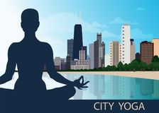 Female silhouette. Yoga lotus asana. City Chicago view, skyscrapers, blue sky, river, lake. Concept unification of Eastern and Wes vector illustration