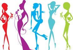 Female silhouettes. Five colorful beautiful female silhouettes Stock Photo
