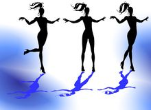 Female Silhouettes. A silhouette of nice girls playing Royalty Free Stock Image