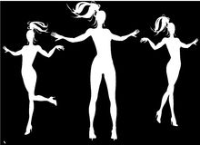 Female Silhouettes. Silhouettes of nice girls playing Stock Image