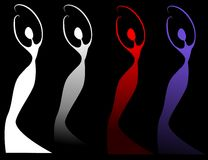 Female Silhouettes on Black. A clip art illustration of female figures in various colors set on black - your choice of white, grey gradient, red and blue Royalty Free Stock Images