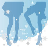 Female silhouettes on a Christmas background Royalty Free Stock Photography