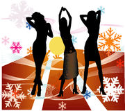 Female silhouettes dancing in a disco stock image