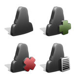 Female Silhouettes Icons. Four female silhouettes icons - blank, add, delete and edit. Graphite look Royalty Free Stock Image