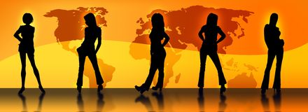 Female silhouettes and a map. A set of female silhouettes in front of a world map Stock Photos
