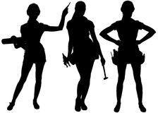 Female silhouettes with tools Stock Image