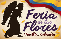 Female Silletero, Colombian Flag and Petals for Flowers Festival, Vector Illustration Stock Images