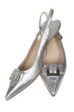 Female silver shoes Stock Image