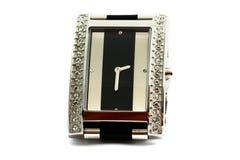 Female silver wrist watch with diamonds Stock Photo