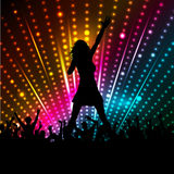 Female singer. Silhouette of a female singer performing in front of a crowd stock illustration