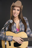 Female Singer Playing Guitar Recording Microphone Royalty Free Stock Photo