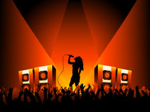 Female singer with crowd vector illustration