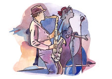 Female singer and male saxophonist Stock Photography