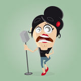 Female singer on microphone Royalty Free Stock Image