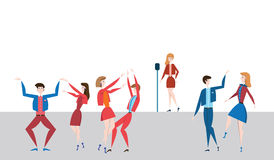 Female singer at the microphone on stage and dancing people. Vector illustration in flat style. Stock Photography