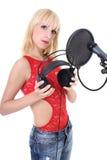 Female singer over white Stock Photos
