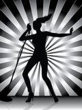 Female singer silhouette Stock Image
