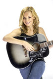 Female Singer Songwriter Musician with Acoustic Guitar Royalty Free Stock Photography