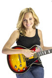 Female Singer Songwriter Musician with Electric Guitar Royalty Free Stock Photography