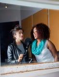 Female Singers Singing In Recording Studio Stock Image