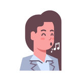 Female Singing Emotion Icon Isolated Avatar Woman Facial Expression Concept Face Stock Images