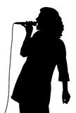Female singing. Silhouette of a female singer. Isolated white background. EPS file available Royalty Free Stock Photography