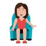 Female sitting on home sofa cartoon. Stock Image