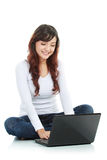 Female sitting  with laptop Royalty Free Stock Photos