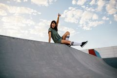 Free Female Skateboarder Enjoying A Day At Skate Park Stock Photography - 117297152