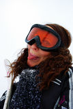 Female skier. Happy female skier showing her tongue Stock Photos