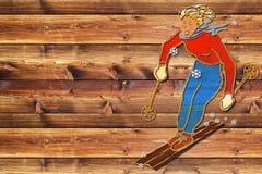 Female skier dark board Stock Images