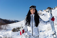 Female Skier with Equipment at Mountain Resort Stock Photos