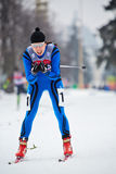 Female skier during FIS Continental Cup ski racing Royalty Free Stock Images