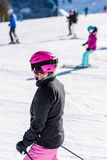 Female skier in fresh snow Royalty Free Stock Photography