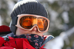 Female skier in goggles Stock Photos