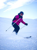 Female skier with helmet Stock Photos