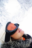 Female skier in mask Stock Images