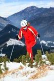 Female skier moving up slope Royalty Free Stock Photos