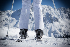A female skier on the piste. A female skier on the piste in Alps, Austria, Europe Royalty Free Stock Photo