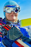 Female skier wearing ski glasses Royalty Free Stock Photos