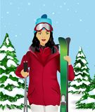 Female skier Stock Photo