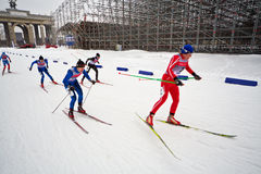 Female skiers during FIS Continental Cup ski racing Stock Images